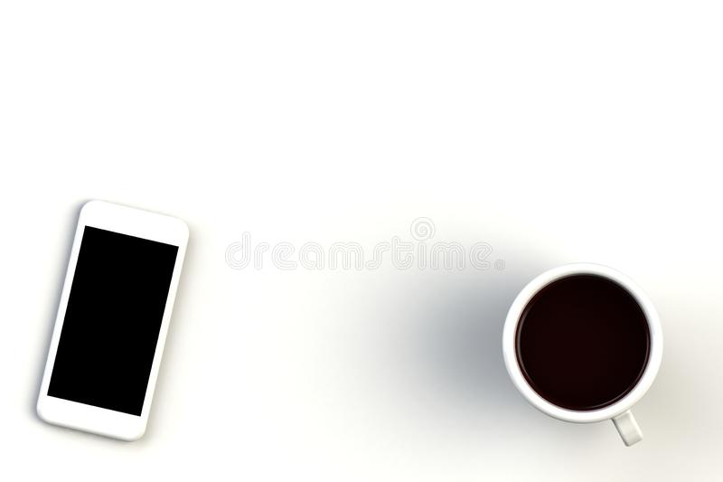 Koffiekop met smartphone op witte achtergrond, Hoogste mening met copyspace voor uw tekst vector illustratie