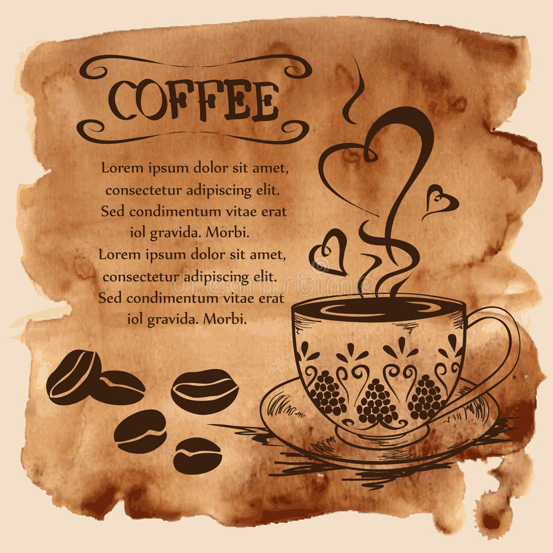 Koffiekop op een waterverfachtergrond stock illustratie