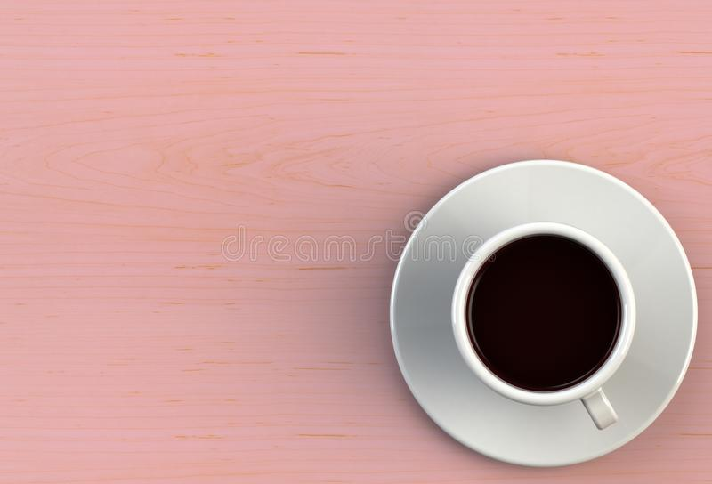Koffiekopje op roze houten tafel stock illustratie