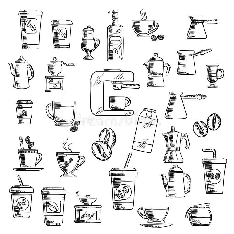 Koffiekoppen, bonen, molen en potten vector illustratie