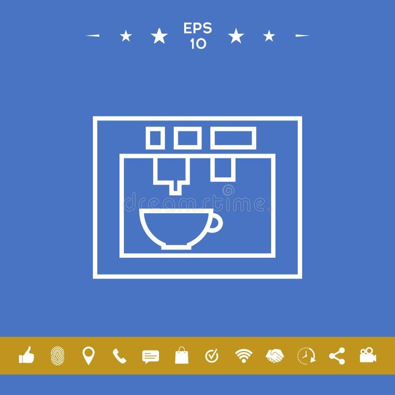 Koffiemachine, koffiezetapparaat lineair pictogram vector illustratie