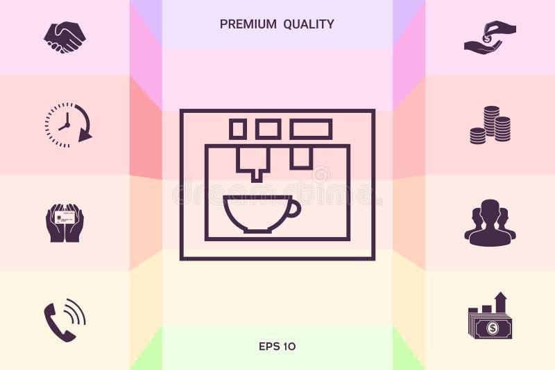 Koffiemachine, koffiezetapparaat lineair pictogram Grafische elementen voor uw ontwerp stock illustratie