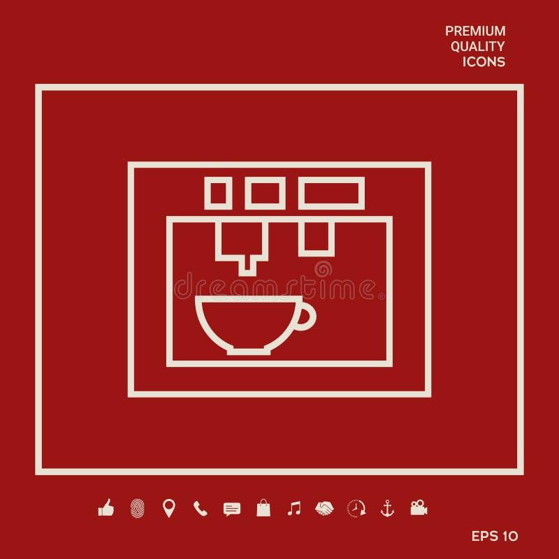 Koffiemachine, koffiezetapparaat lineair pictogram Grafische elementen voor uw ontwerp vector illustratie
