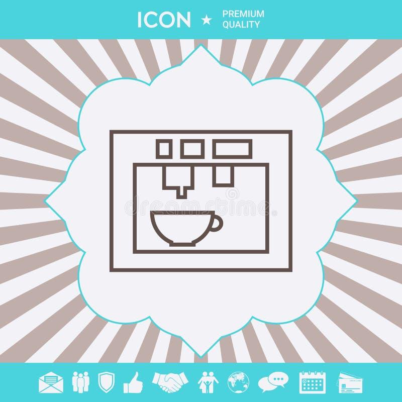 Koffiemachine, koffiezetapparaat lineair pictogram Grafische elementen voor uw ontwerp royalty-vrije illustratie