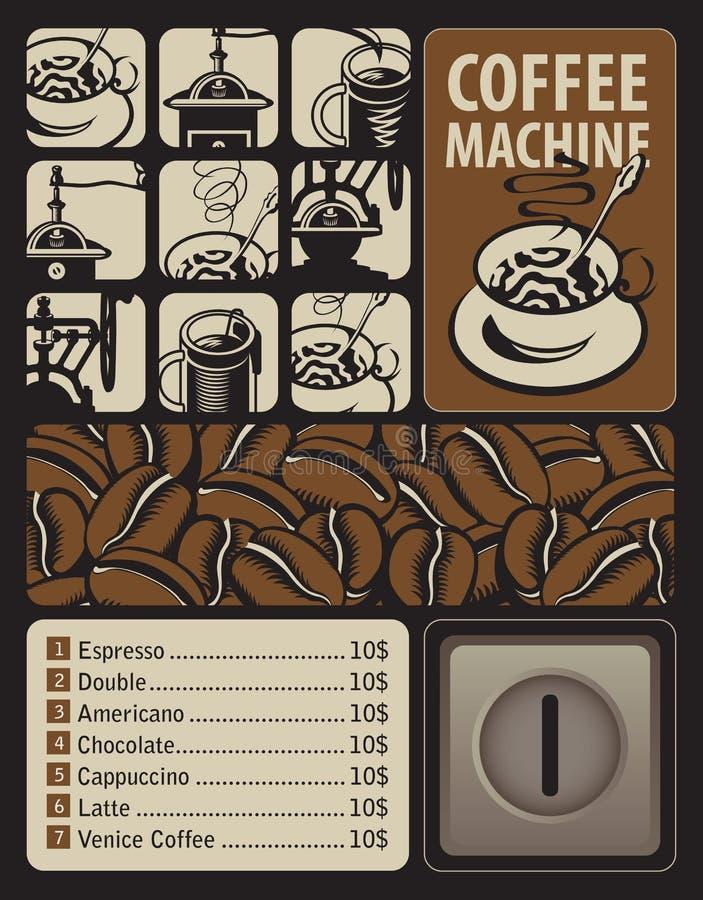 Koffiemachines voor hete dranken royalty-vrije illustratie
