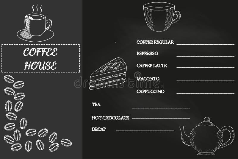 Koffiemenu, schets 1, bord stock illustratie