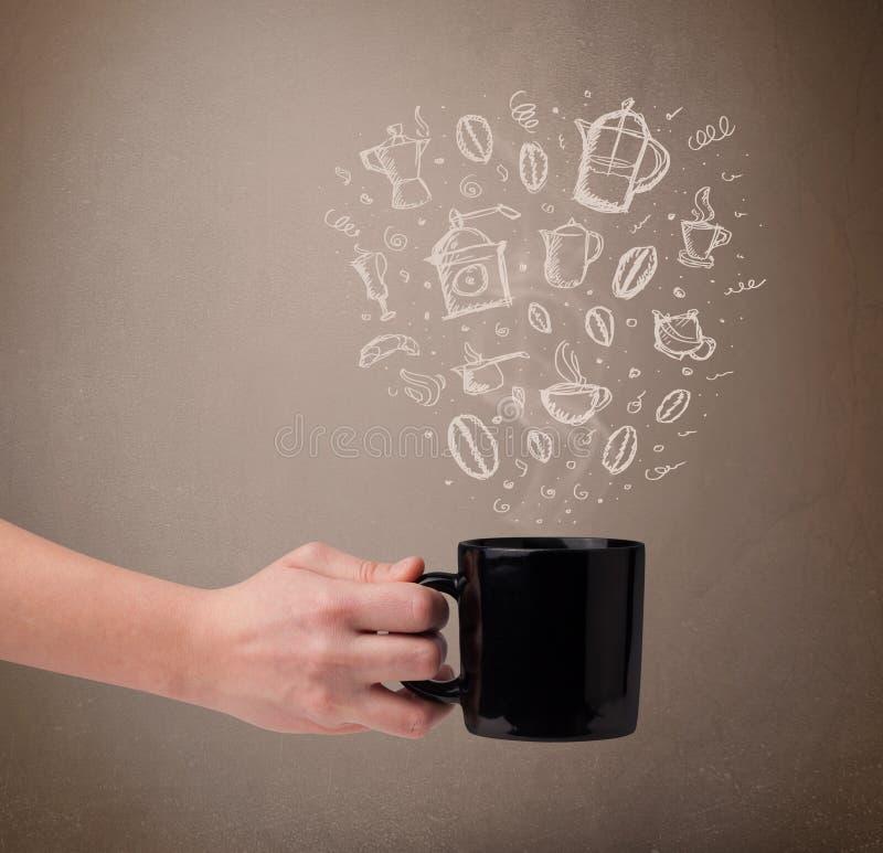 Download Koffiemok Met Hand Getrokken Keukentoebehoren Stock Foto - Afbeelding bestaande uit potion, getrokken: 39102040