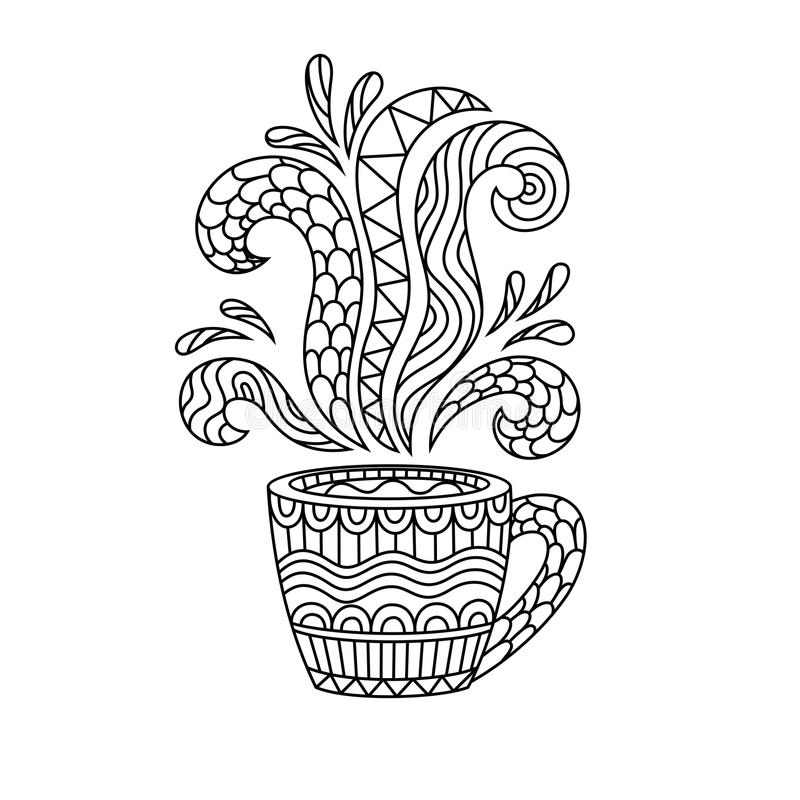 Koffiemok of theekop met abstracte patronen in de stijl van zen vector illustratie