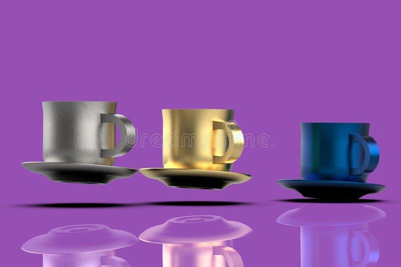 Koffiemokken 3D vliegen stock illustratie