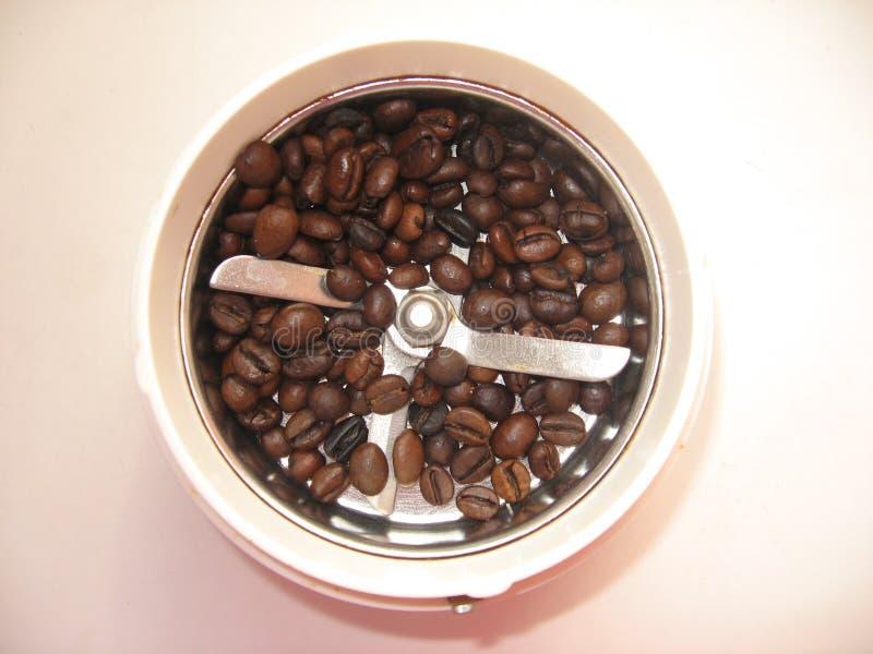 Koffiemolen met gebraden korrels van koffie stock foto