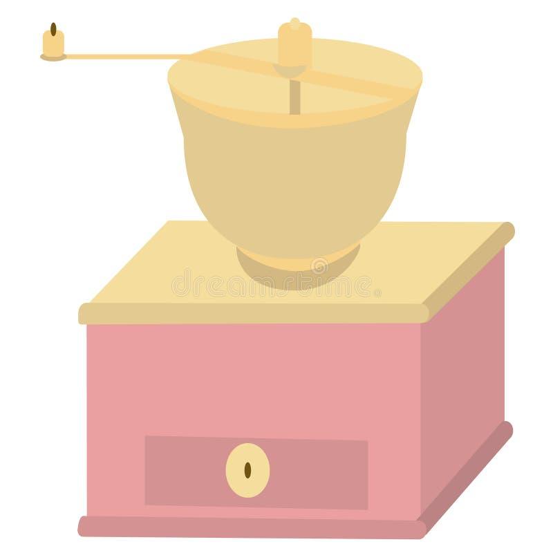Koffiemolen vlakke illustratie op wit stock illustratie