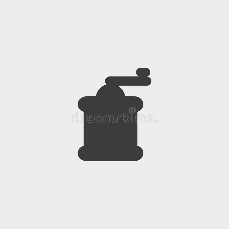 Koffiemolenpictogram in een vlak ontwerp in zwarte kleur Vector illustratie EPS10 stock illustratie