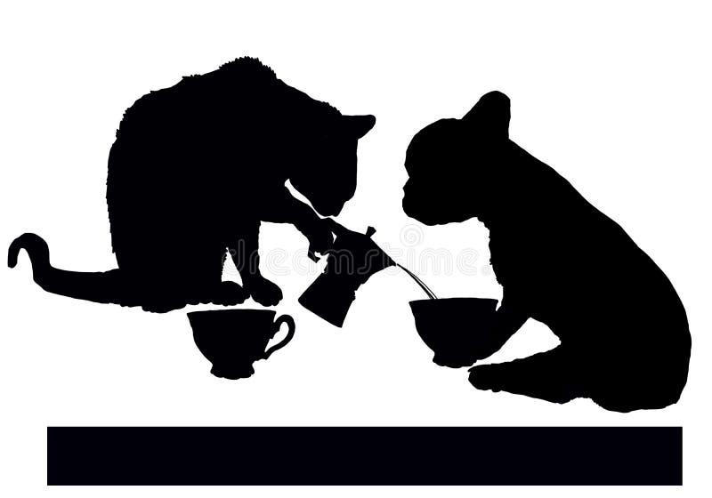 Koffiepauze met kat en hond royalty-vrije illustratie
