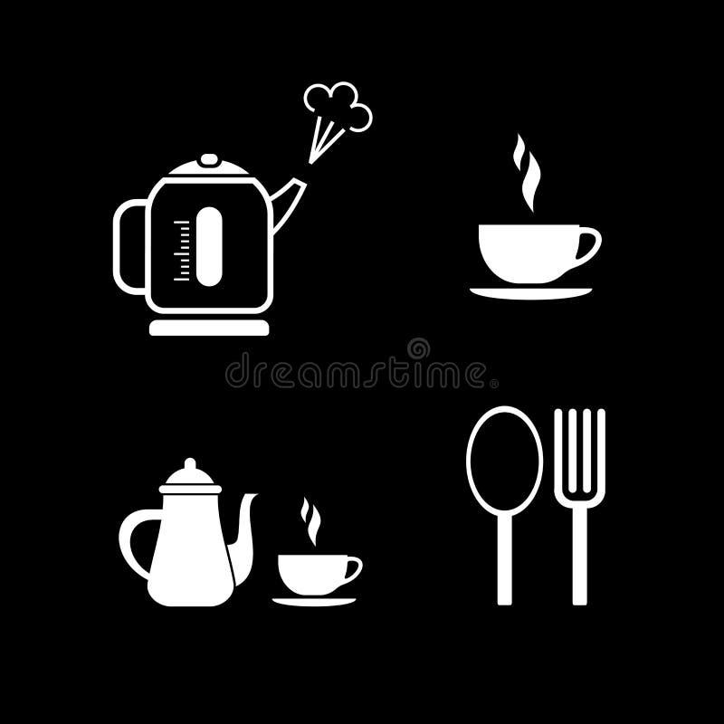 Koffiepauze - vectorpictogrammen royalty-vrije illustratie