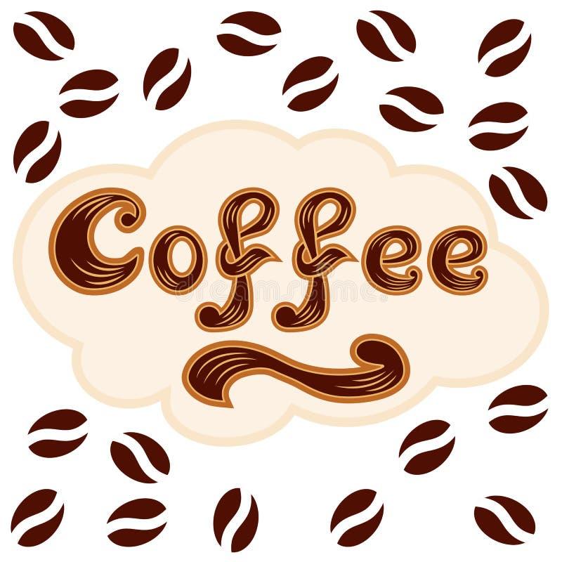 Koffiepictogram - het van letters voorzien en het patroon van koffiebonen vector illustratie