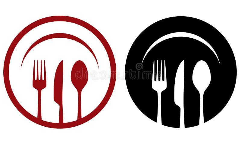Koffiepictogrammen met vork, mes, lepel, plaat vector illustratie