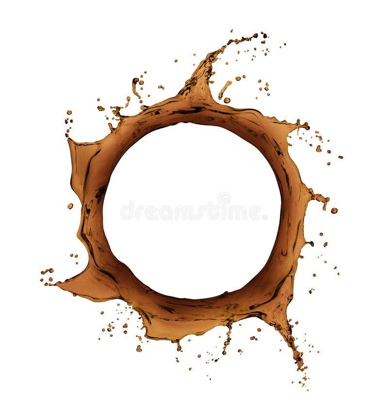 Koffieplonsen in de vorm van een wervelende draaikolk royalty-vrije illustratie