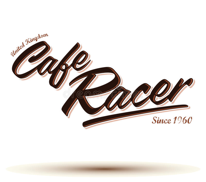 Koffieraceauto het vector van letters voorzien vector illustratie