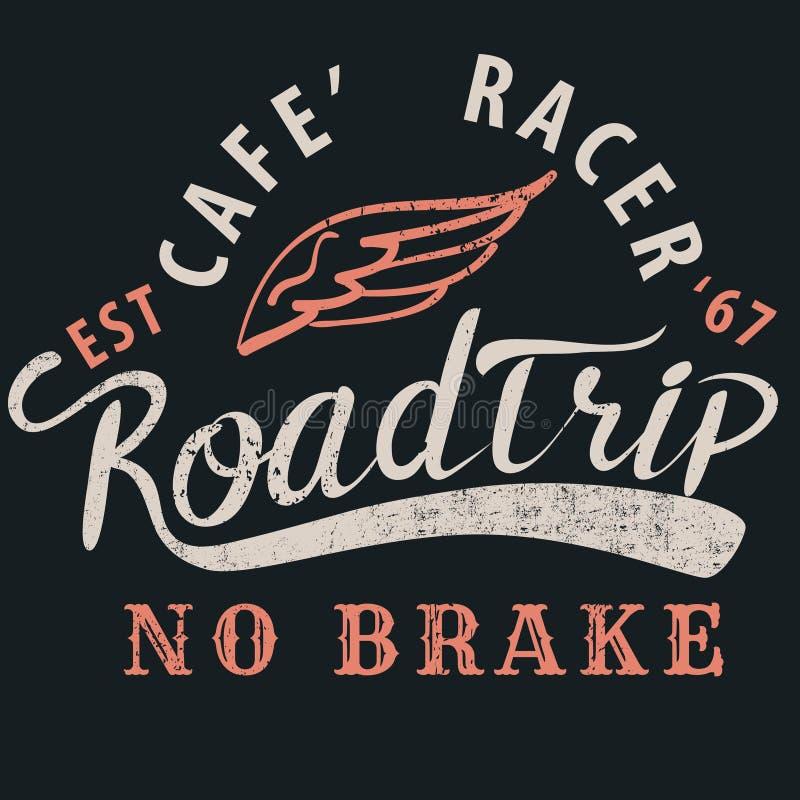 Koffieraceauto roadtrip typografisch voor t-shirt, T-stukontwerp, affiche, ve stock illustratie