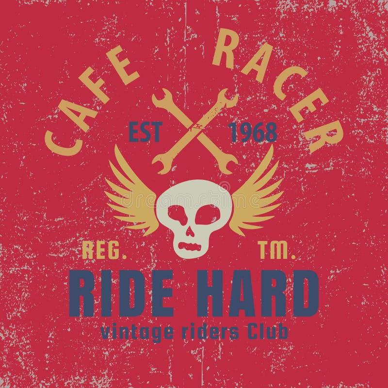 Koffieraceauto typografisch met gevleugelde schedel, grafisch voor voor t-shirt, vectorillustratie stock illustratie