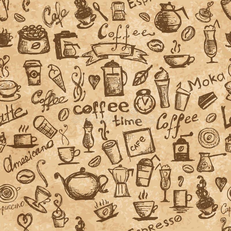 Koffietijd, naadloze achtergrond grunge voor uw stock illustratie
