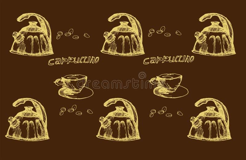 Koffietijd in schets royalty-vrije stock afbeelding