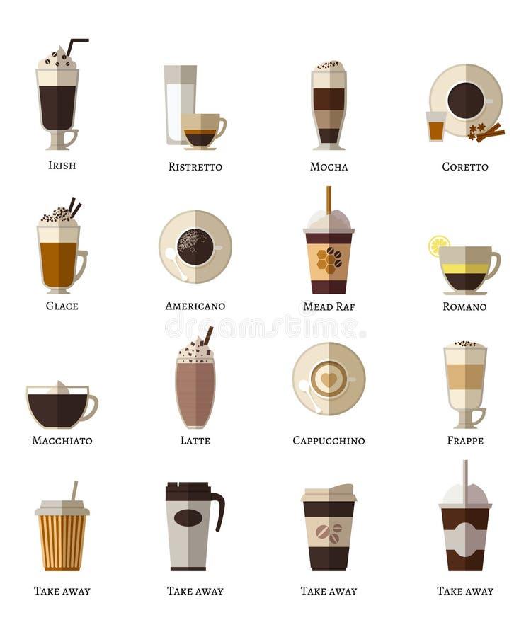 Koffietypes vector vlakke geplaatste pictogrammen vector illustratie