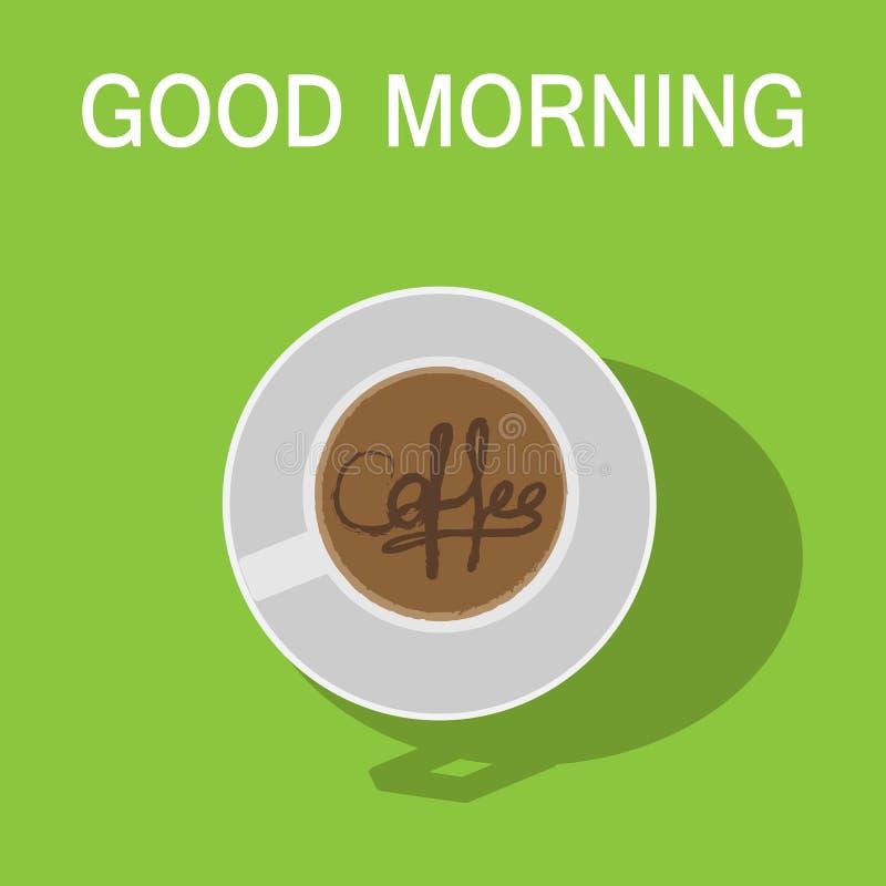 Koffievector met goedemorgentekst op groene achtergrond vector illustratie