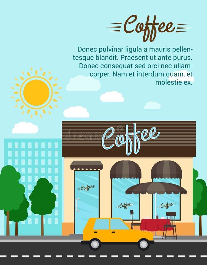 Koffiewinkel met de banner van het stadslandschap royalty-vrije illustratie