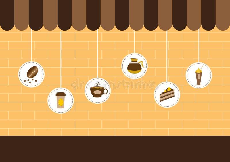 Koffiewinkel, winkels en opslagpictogrammen, Vectorillustraties stock illustratie