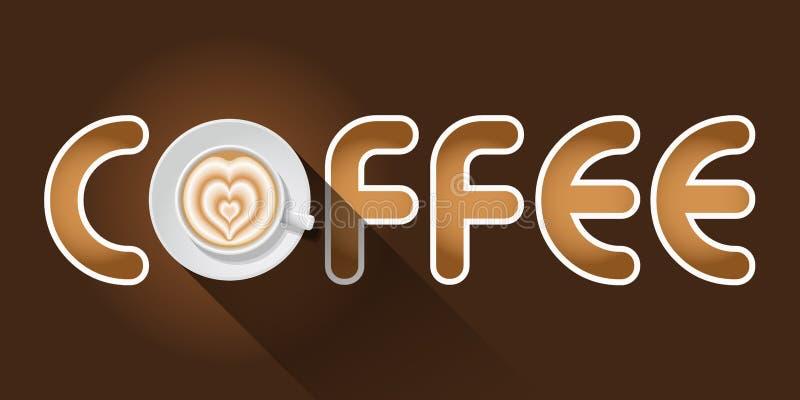 Koffiewoord met Latte-kunstkop stock illustratie