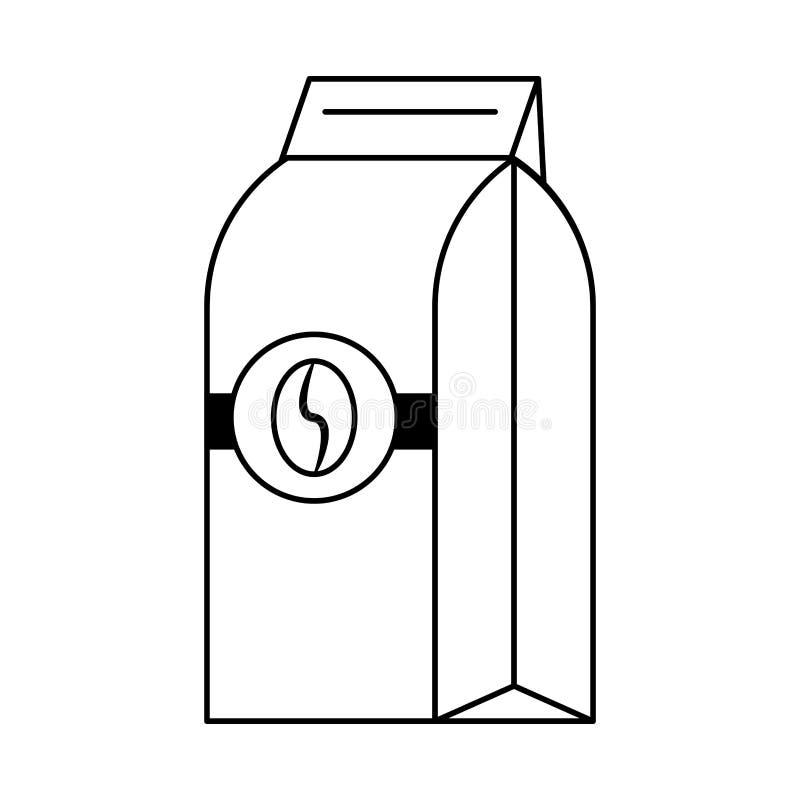 Koffiezak die met boon wordt verzegeld die in zwart-wit wordt ge?soleerd vector illustratie