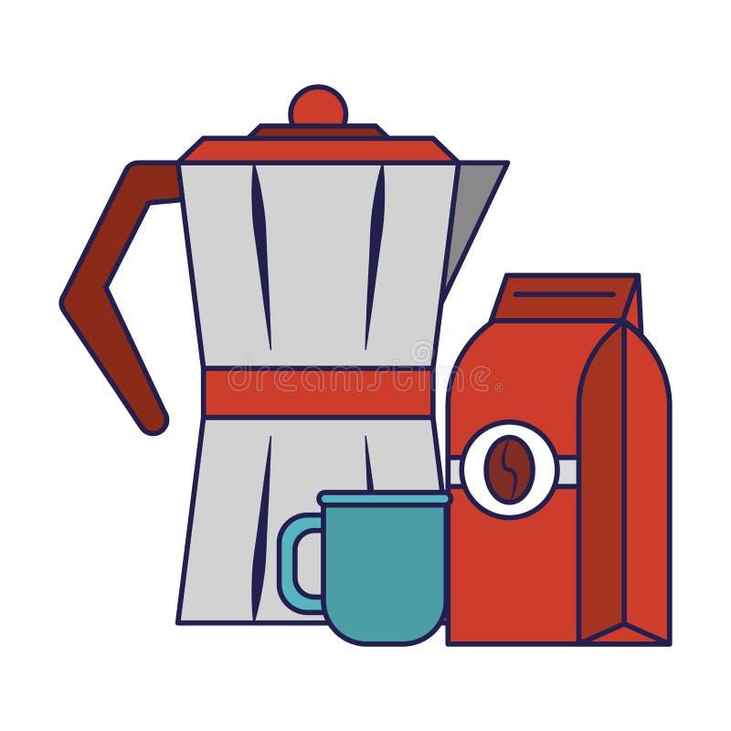 Koffiezak die met ketel blauwe lijnen wordt verzegeld vector illustratie