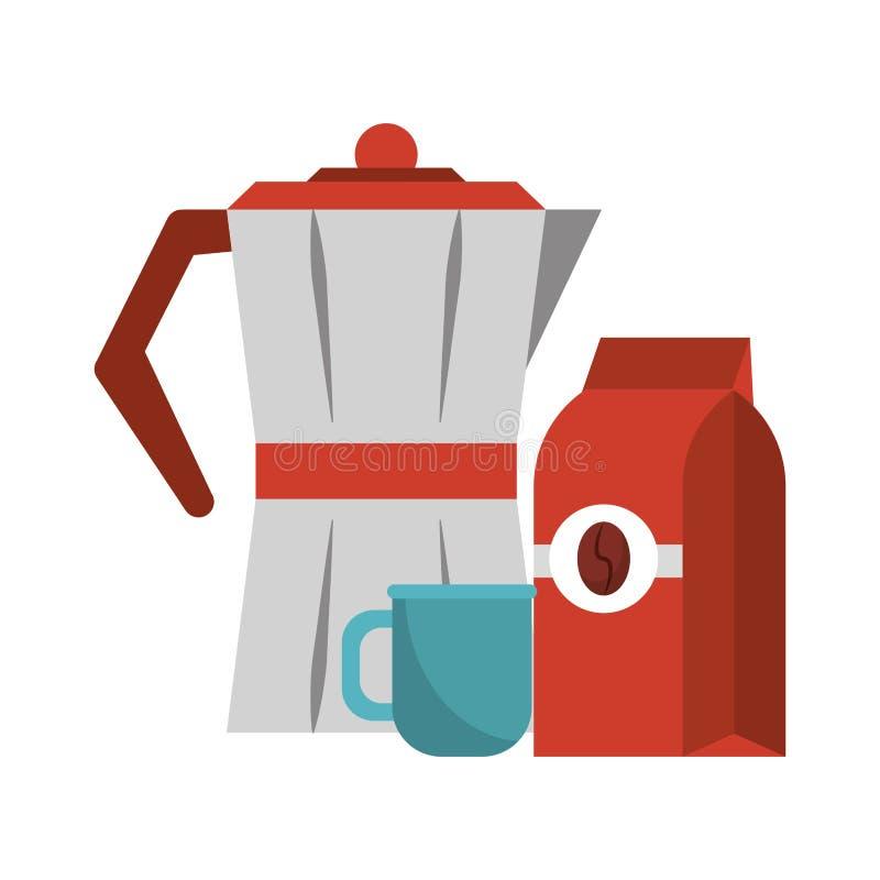 Koffiezak die met ketel wordt verzegeld stock illustratie