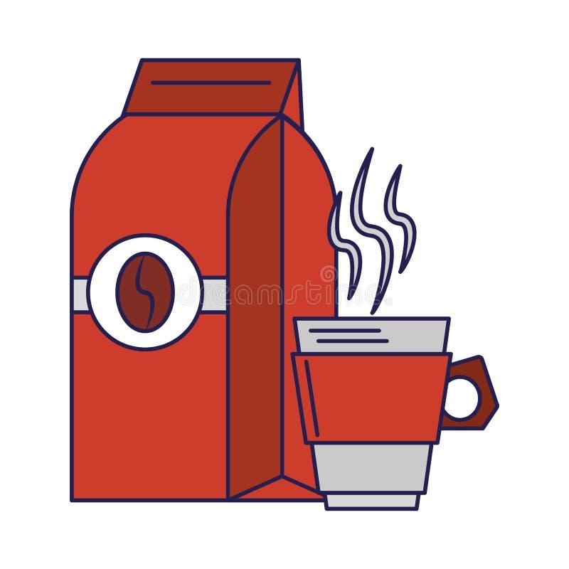 Koffiezak met boon en koffiekop blauwe lijnen die wordt verzegeld royalty-vrije illustratie