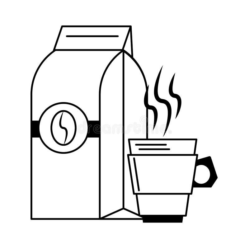 Koffiezak met boon en koffiekop die in zwart-wit wordt verzegeld stock illustratie