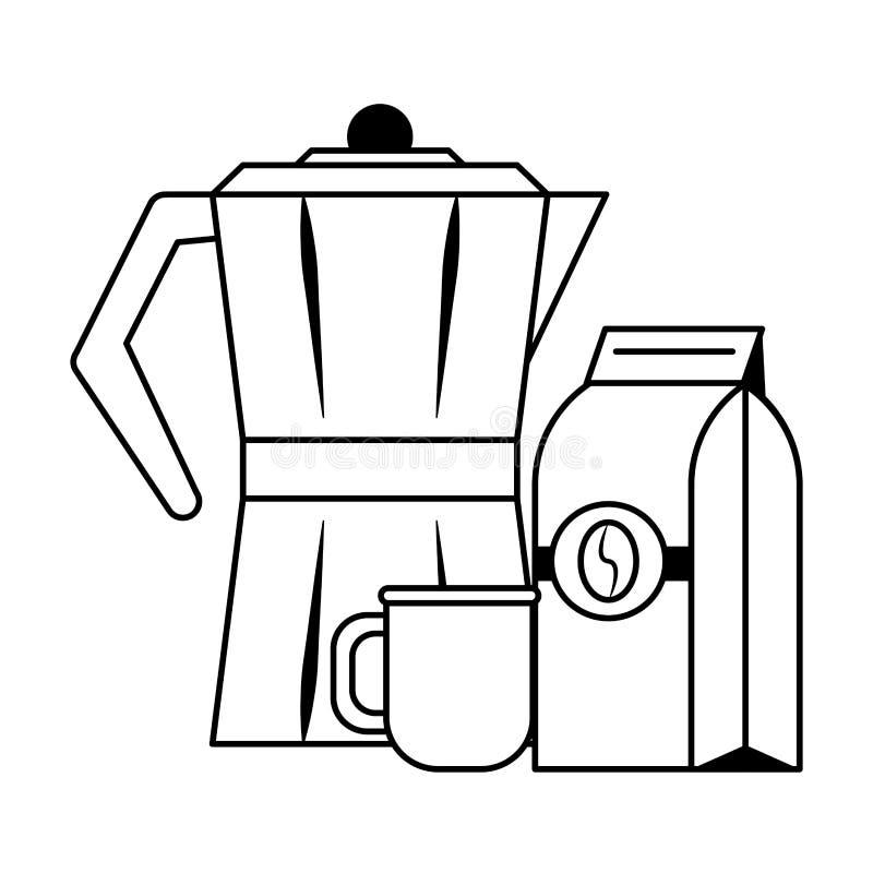 Koffiezak met ketel die in zwart-wit wordt verzegeld vector illustratie