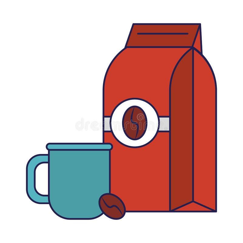 Koffiezak met koffieboon en kop blauwe lijnen wordt verzegeld die stock illustratie