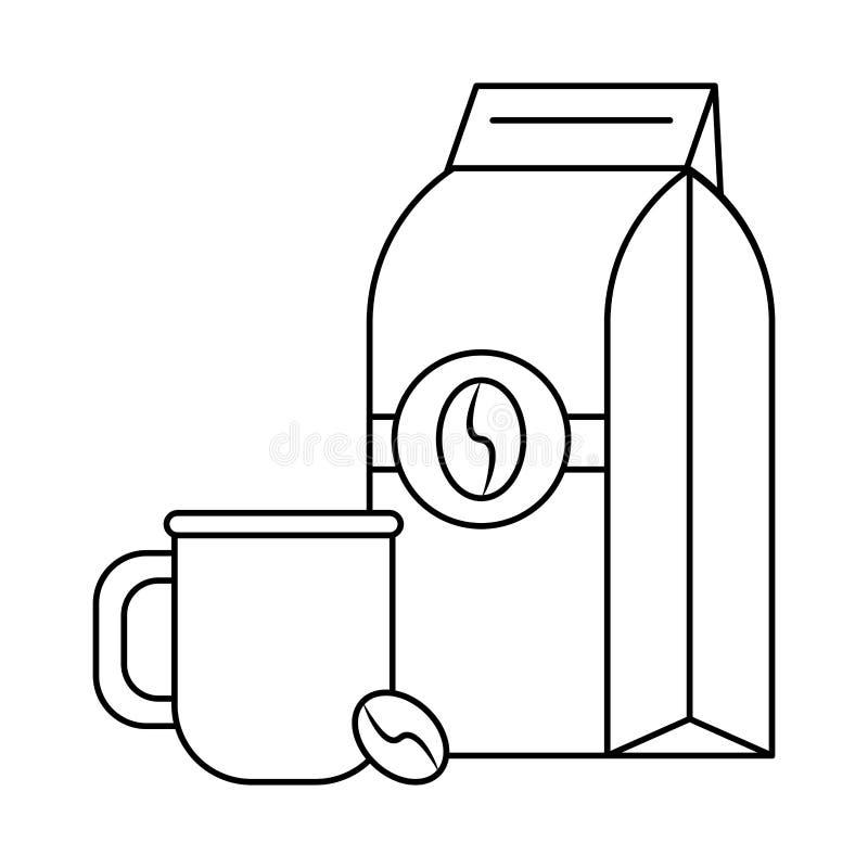 Koffiezak met koffieboon en kop die in zwart-wit wordt verzegeld vector illustratie