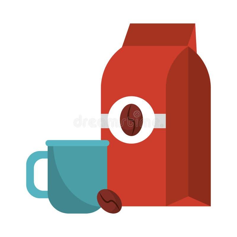 Koffiezak met koffieboon en kop wordt verzegeld die royalty-vrije illustratie