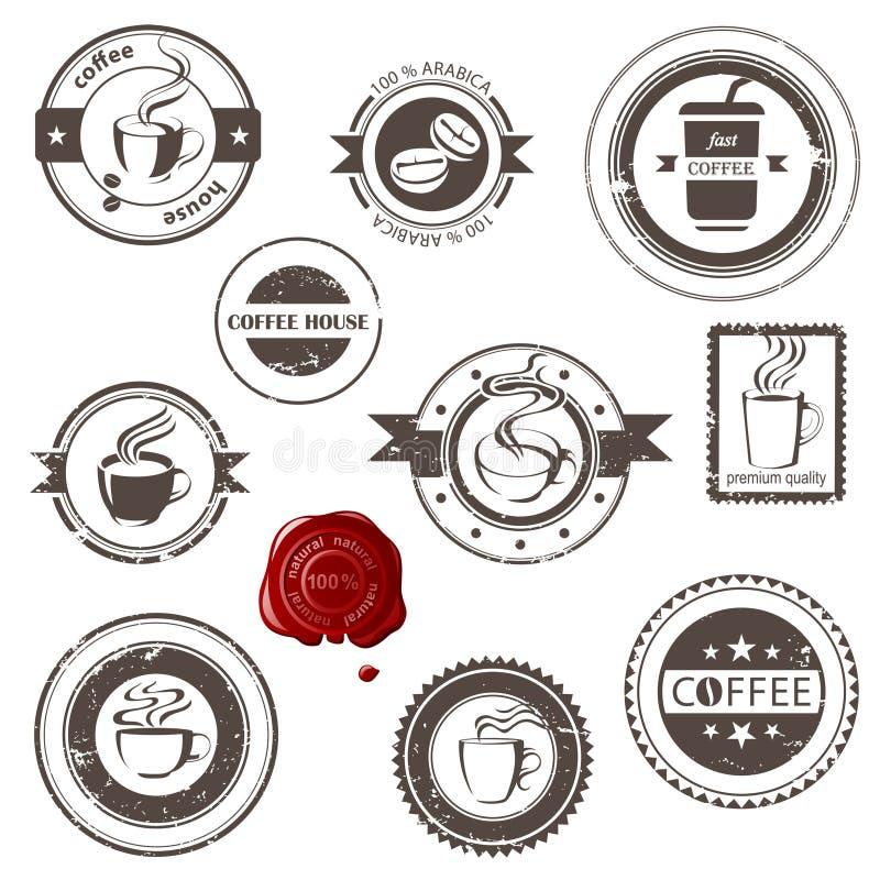 Koffiezegels stock illustratie