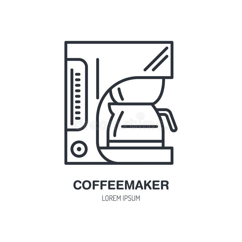Koffiezetapparaat, coffe pictogram van de machine het vectorlijn Het lineaire embleem van het Baristamateriaal Overzichtssymbool  vector illustratie