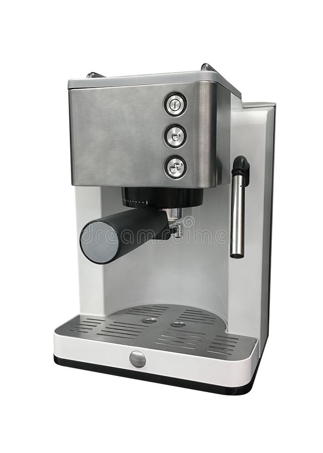 Koffiezetapparaat dat op witte achtergrond wordt geïsoleerdr stock fotografie