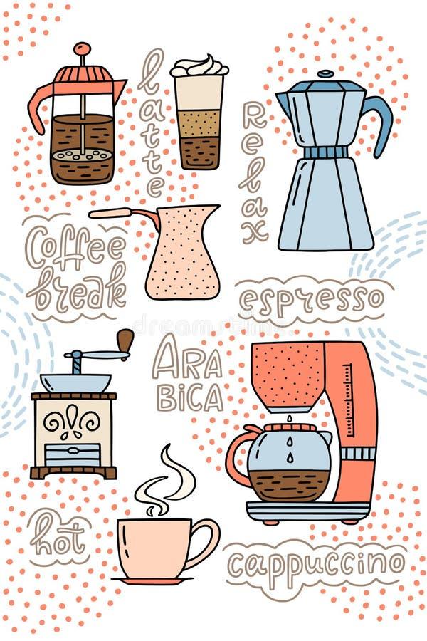 Koffiezetapparaat, de Amerikaanse pers, koffiemachine, kop espress royalty-vrije illustratie