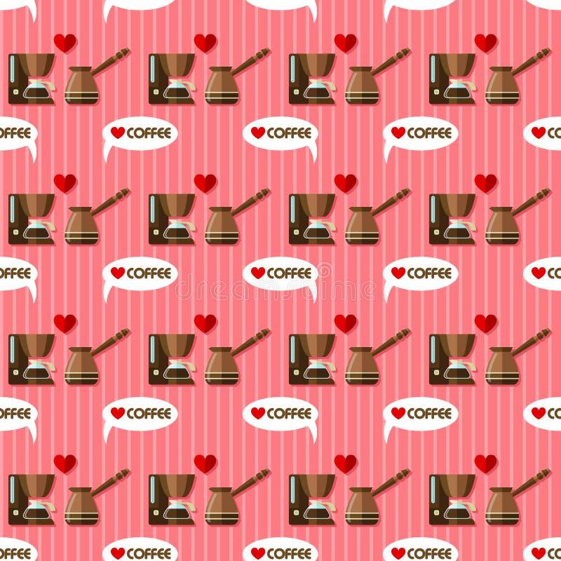 Koffiezetapparaat naadloos patroon vector illustratie