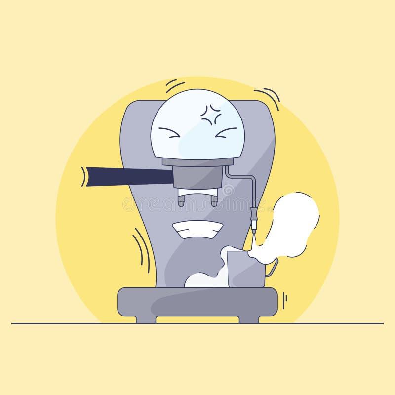 Koffiezetapparaatkarakter stock illustratie