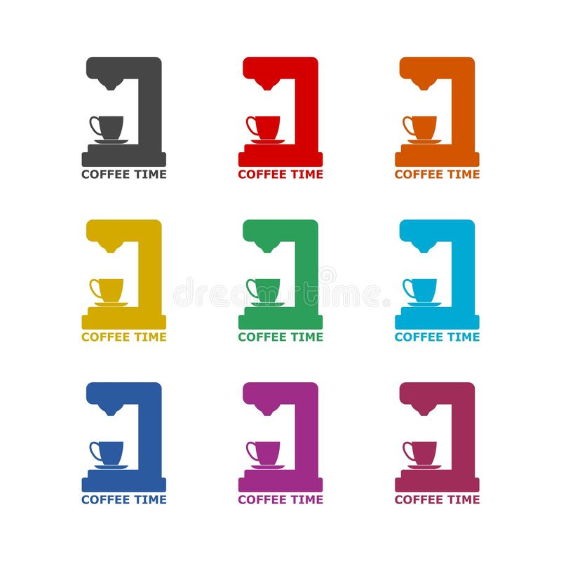 Koffiezetapparaatpictogram of embleem, kleurenreeks vector illustratie