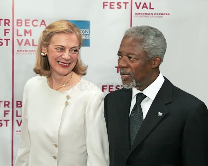 Kofi Annan en Nane Maria Annan stock afbeeldingen
