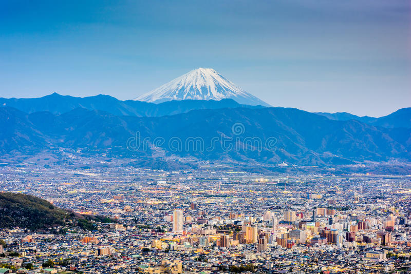 Kofu, Japan with Mt. Fuji royalty free stock photo