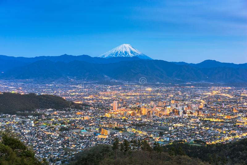 Kofu, le Japon avec le Mont Fuji photographie stock libre de droits
